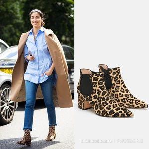 Zara Leopard Pony Hair Fur Leather Chelsea Boot 39